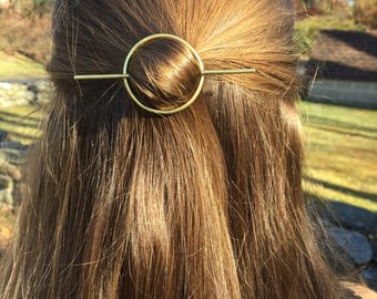 Brass Circle Hair Clip- stick hair accessories hair pin minimalist gold barrette yoga jewelry boho bridesmaid gift graduation gift for her