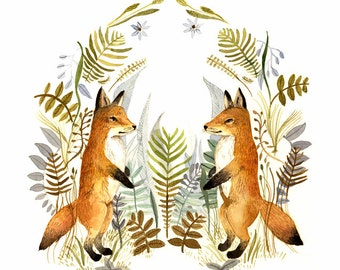 """fox art, fox watercolor, Watercolor painting- reproduction- """"Foxes and Ferns"""" print of watercolor painting"""