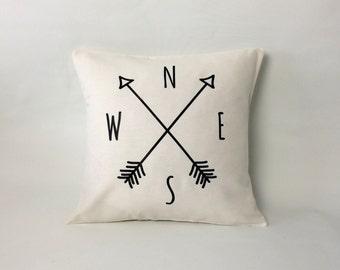 Compass Pillow cover, arrow pillow, Compass cushion, throw pillow, off white pillow, 16x16, 18x18, 20x20, 24x 24, 26x26, accent pillow