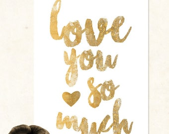 A4 print - Love you so much all in glitter!