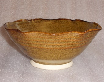 Wheel Thrown and Altered Pottery Bowl in Dark Amber with Golden Speckles