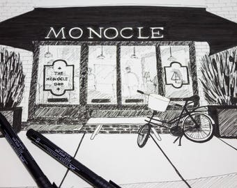 Monocle cafe fasade, sketch A3
