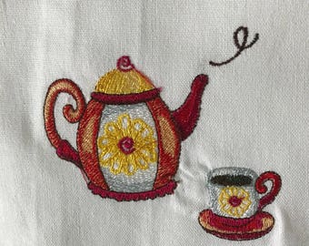 Red and Yellow Floral Teapot and Cup Tea Towel