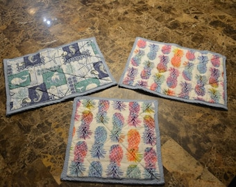 Hot Pads / Pot Holders - Pineapple Rainbows and Sea life