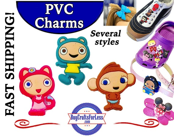 PVC Charms, Waybuloo  * 20% OFF Any 4 PVC Charms*99cent Shipping *  For Shoes, Hair, Pins-Choose back-Button, Pin, Slider, Hair Clip, Velcro