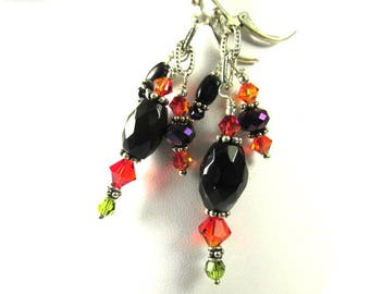 Black Faceted Agate and Onyx Ovals with Orange & Green Swarovski Crystals and Purple Crystal Rondelles Triple Dangle Earrings on Leverbacks