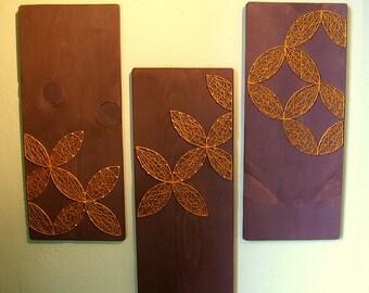 Circular Geometric Designs - Modern String Art  - Set of 3