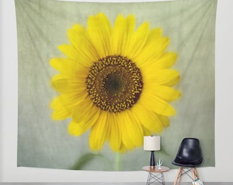 wall tapestry, large size wall art, wall decor, photo tapestry, bohemian tapestry, floral, flower, sunflower, yellow