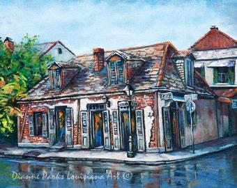 Lafitte's Blacksmith Shop, Pirate Jean Lafitte, Bourbon Street, French Quarter Street Scene, Impressionism Art of New Orleans - 'Lafitte's'