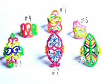 Multi-colored Neon Vintage Ring - Spiky Rainbow - Fluorescent, Disco, Funky Jewelry