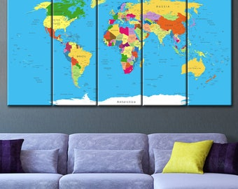 Map print, Large Canvas print, Large wall Canvas, map on canvas, Print on canvas, World map, Push pin travel map, world map push pin
