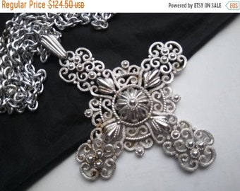 ON SALE TRIFARI Maltese Cross Signed Necklace, 1950's 1960's Statement Jewelry, Old Hollywood Glam, Holiday Gift Idea For Her, Runway Neckla