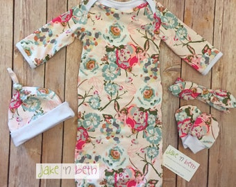 Baby gown, knot hat, and no scratch mittens, newborn set, girl baby, pale pink floral