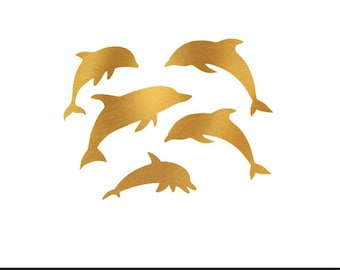 dolphins gold foil clip art svg dxf file instant download silhouette cameo cricut digital scrapbooking commercial use