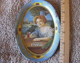 "Oval Coca Cola 1973 Change Tray Vintage Lady 6"" x 4 1/4""  CL5-11"
