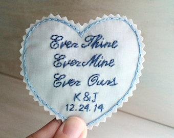 Something Blue. Personalized Wedding Dress Label. Wedding Dress Patch. Gift for Bride. Hand Embroidery. Wedding Dress. Monogram Dress Label.