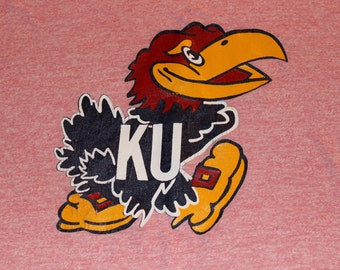 Vintage Kansas Jayhawks KU red ringer tshirt University of Kansas, Rock Chalk --Large