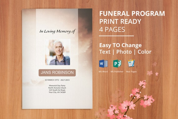 Printable Funeral Program Template Obituary Template Editable