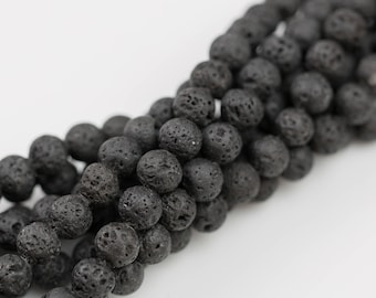 Natural Lava Round Beads- Single Strand or Wholesale Bulk- -Full 15.5 Inch Strand, 4mm, 6mm, 8mm, 12mm, or 14mm Beads- Wholesale Pricing