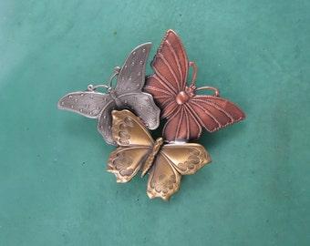 Butterfly Brooch- Butterfly Jewelry- Butterfly Pin- mixed metal jewelry
