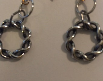 Antique Silver Twisted Hoops