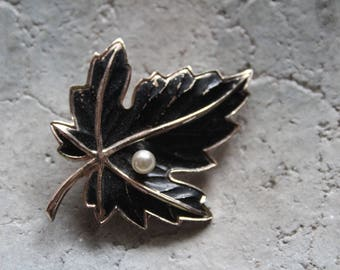 Brooch, leaf, Vintagebrosche, pin, Tuchnadel, PIN, Vintageschmuck,