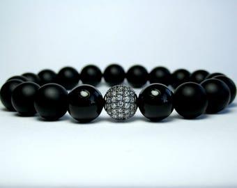 Black Onyx Bracelet, Mens Beaded Bracelet, Mens Black Bracelet, Micro Pave Bracelet, Bracelet for Men, Birthday Gift for Men