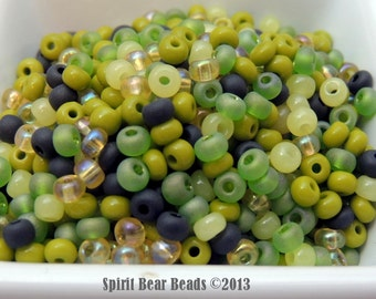 Frog Bayou Mix, 50 grams, Czech Seed Beads, Size 6, Greens, swamp, frogs