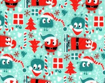 Christmas Santa Ooga Booga, Cotton Interlock Knit Fabric, FQ 18 x 30 inches