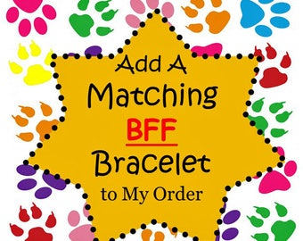 """Add an Adjustable Matching (Non Canvas) BFF Bracelet to My Dog Collar Order - Best Friend Bracelet - (1/2"""" or 5/8"""" Width)"""