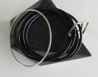 Rubber and silver bangle