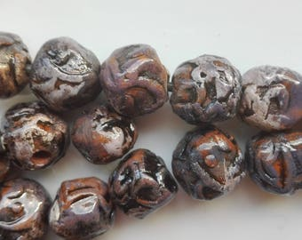 Ceramic Beads Handmade  Brown Pastel  Pink beads  Artisan Beads Clay Pottery 32