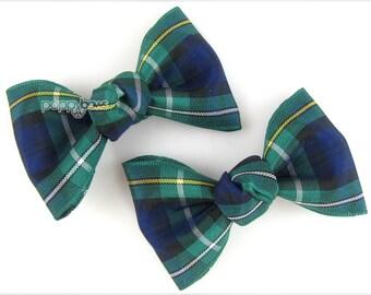 Plaid hair bows, plaid hair clips, navy blue green, school uniform hair bows, girls hair bows, baby hair bows, small hair bows, Campbell