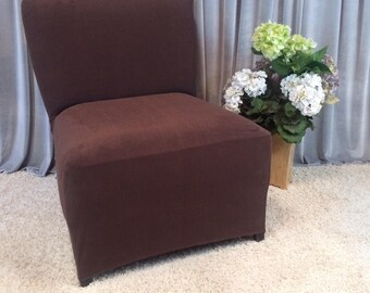Gentil Slipcover Brown Suede Stretch Chair Cover For Armless Chair, Slipper Chair,  Armless Accent Chair, Parsons Chair, Side Chair