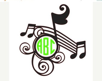 Monogram Music Note Decal, Band Decal, Chorus Decal, Orchestra Decal, Monogram Musica Decal, Custom Music Decal, Monogram Decal