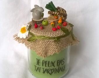 """Bougie """"Je peux pas j'ai jardinage"""" Verte miniatures légumes fruits, avec sac cadeau"""