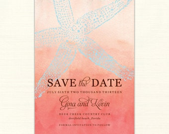 Printable, Custom Starfish Ombre Save the Date