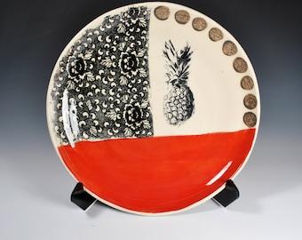 Large Ceramic Serving Platter, Handmade Pottery Serving Dish, Wheel Thrown Plate