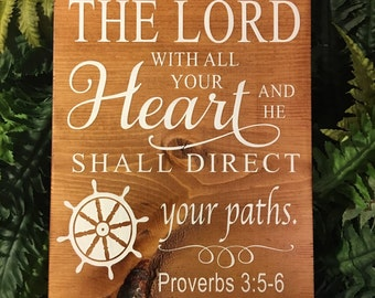 Proverbs 3:5-6 Sign - Trust in the Lord / Trust / Wooden Sign / Sign / Bible verse / Proverbs sign