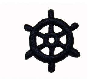 ID 1981B Lot of 3 Ship Wheel Patch Boat Steering Embroidered Iron On Applique