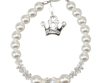 White Pearls and Sterling Silver Crystal Princess Bracelet (B124)
