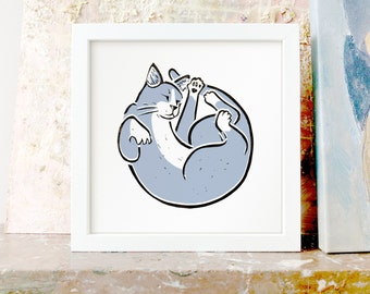 Grey Cat Circle - giclée art print - lovely sleeping pussycat all curled up, perfect cat lover gift or present, great affordable art