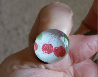 Retro Shabby Glass Cherry Red - Cherries or pink heart glass valentine Cabochon Adjustable  Ring