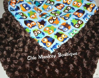 Minky Baby Blanket Owls Print/ Baby Blanket / Baby Shower Gift / Throw Blanket / Baby Bedding / New Mom Gift /Birthday Gift /Baby Girl/Gift