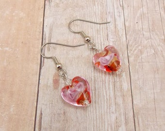 Earrings - Red and Pink Hearts - Clear Glass with Red and Pink - Silver Earwires - Valentine's Day - Love