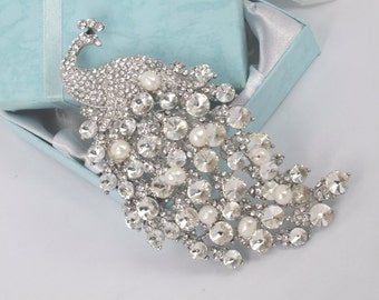 Dramatic Peacock - Rhinestone with Freshwater Pearl Brooch