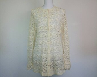 Vintage pure wool ivory hand knitted lace long Cardigan size M
