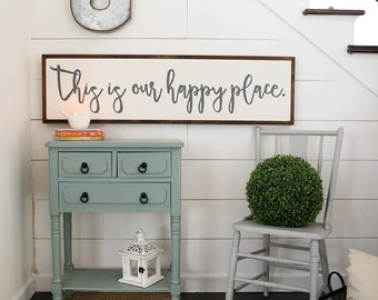 This is our happy place | 1'x4' | wood sign | framed sign | gallery wall | custom sign  | large wood sign | home decor