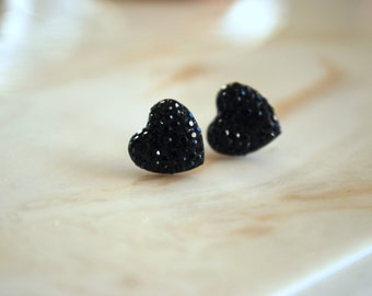 Black Heart Earrings -- Black Hearts, Silver