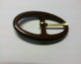 Brown plastic passage 2cm oval buckle * BO83 *.